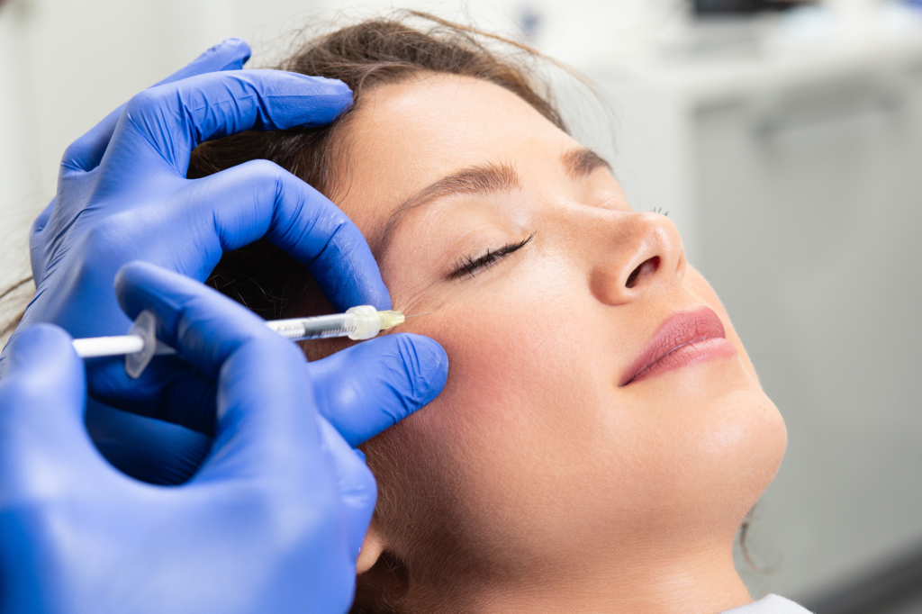Living Well Family Medicine of Boerne young woman is getting a rejuvenating facial injections